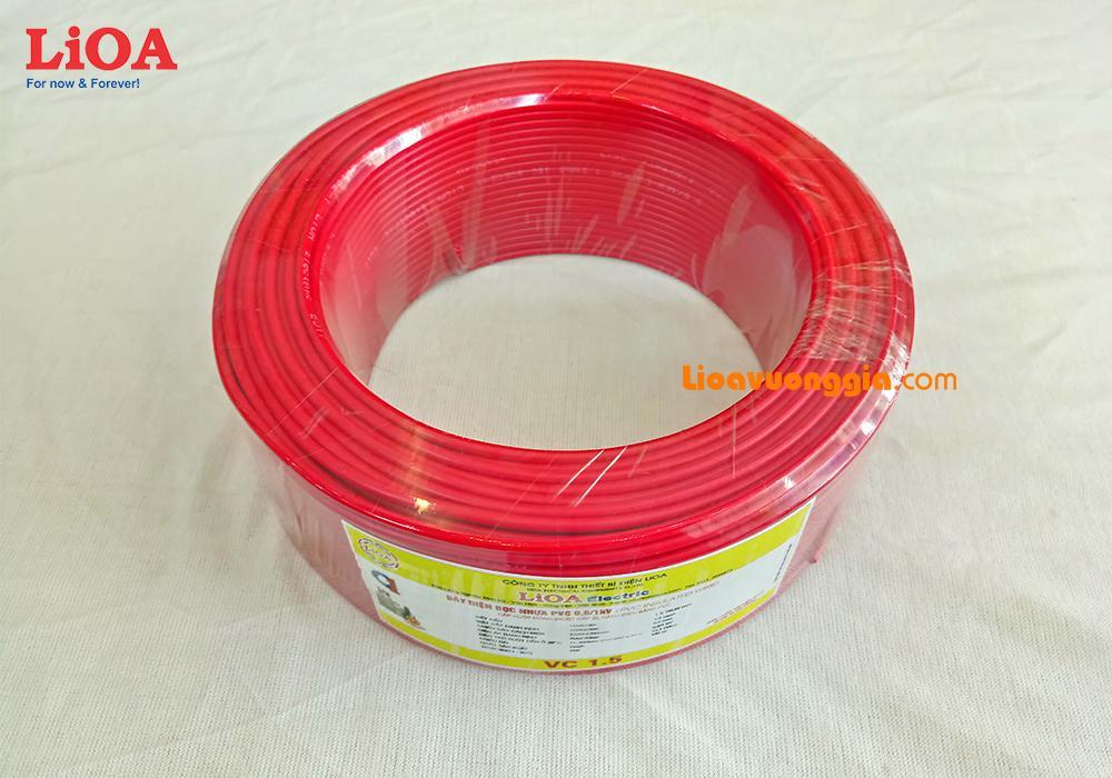 Dây điện đơn LiOA ruột đồng cỡ 1.5mm2 bọc PVC (Cuộn 20m)  VC-1.5R2DO20