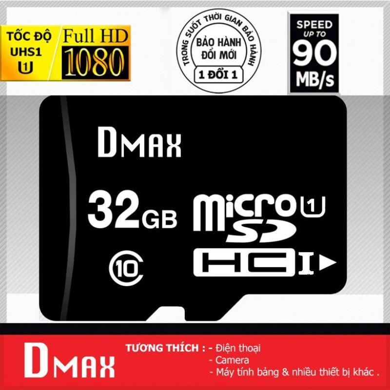 Thẻ nhớ 32GB tốc độ cao UHS1 U1, up to 90MB/s Dmax Micro SDHC class 10 - Bảo Hành 5 năm