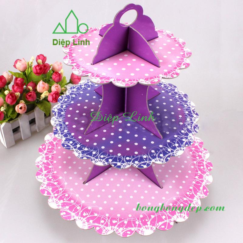 Hình ảnh Kệ bánh sinh nhật cupcake 3 tầng