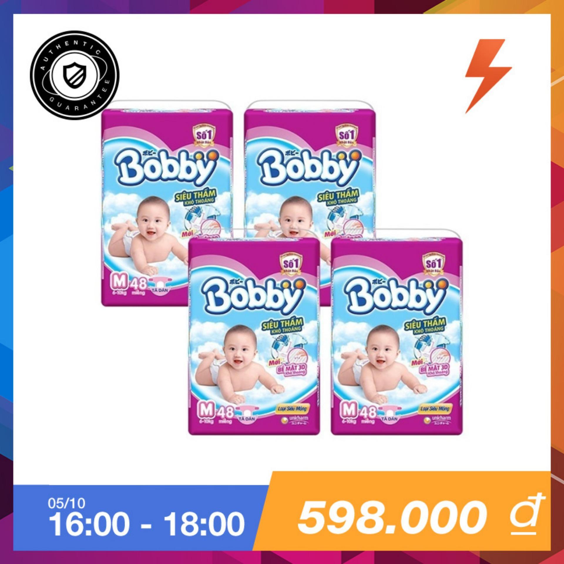 Giá Bán Bộ 4 Goi Ta Giấy Bobby Fresh Sieu Mỏng M48 Nhãn Hiệu Bobby