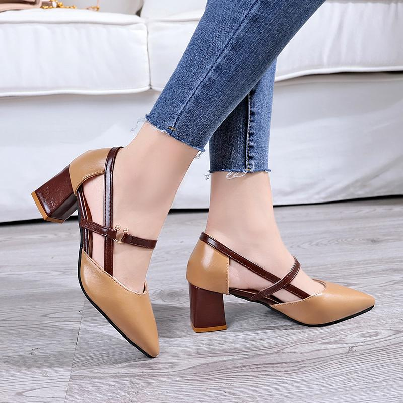 Online Celebrity Block Heel Pointed Shoes Schoolgirl Autumn 2019 New Style  Versatile Korean Style Semi- a844b74df2bc