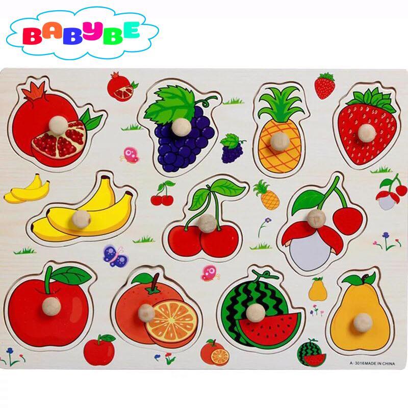 Hình ảnh Bảng Ghép Hình Núm Gỗ Babybe - Chủ Đề Hoa Quả