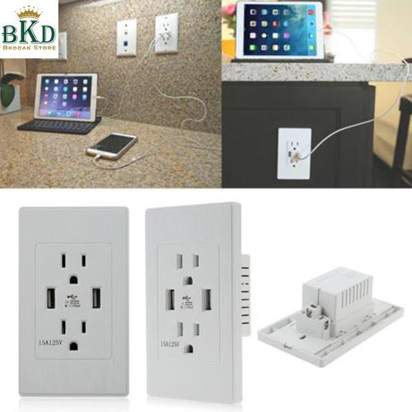 Bkodak Store 110VAC PC Alloy White Wall Outlet Socket with Mounting Screws