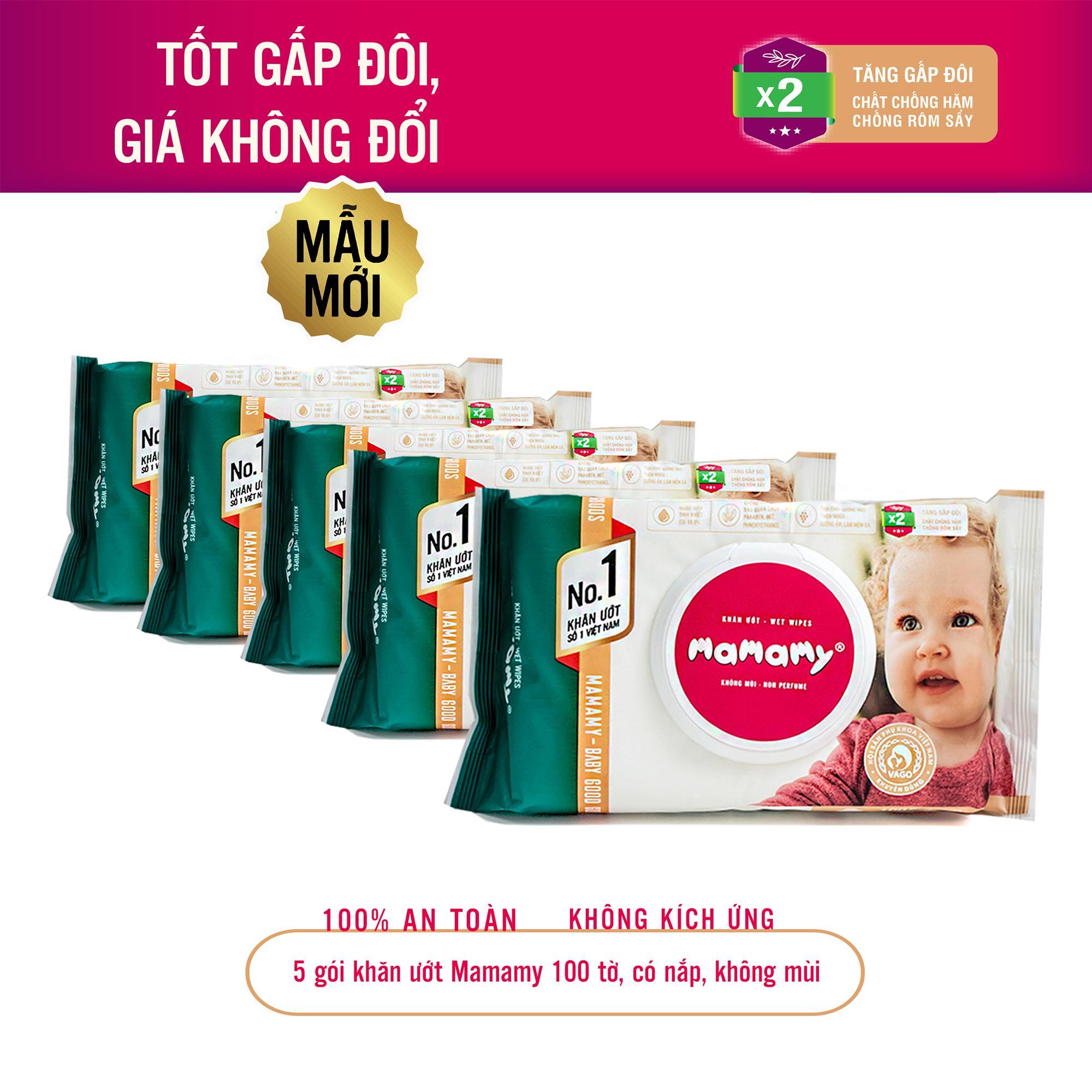 5 gói khăn ướt Mamamy 100 tờ, nắp, không mùi chuẩn quốc tế, 100% an toàn