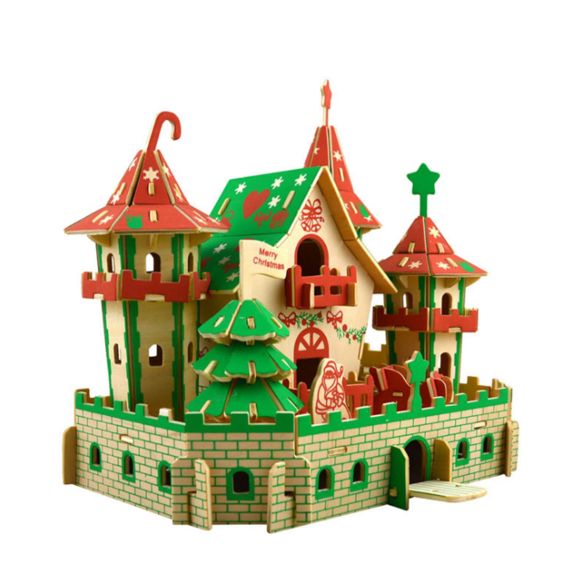 Hình ảnh Đồ chơi lắp ráp gỗ 3D Mô hình Lâu đài Giáng Sinh