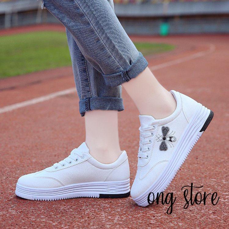 Bán Mua Giay Thể Thao Nữ Giay Sneaker Nữ Theu Ong Đế Độn Ong Đen