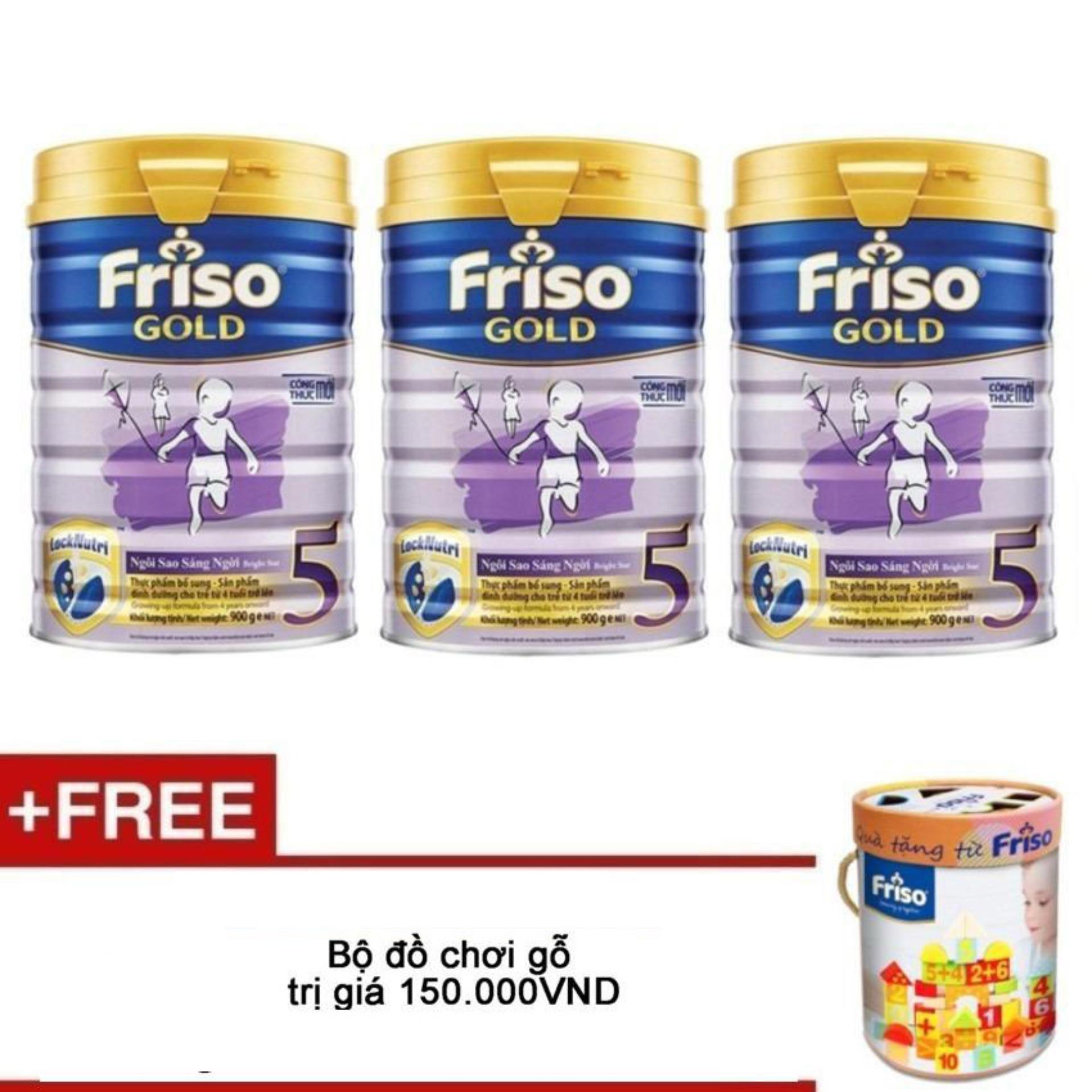 Mua Bộ 3 Sữa Bột Friso Gold 5 900G Tặng Bộ Đồ Chơi Gỗ Trị Gia 150 000Vnd Vietnam