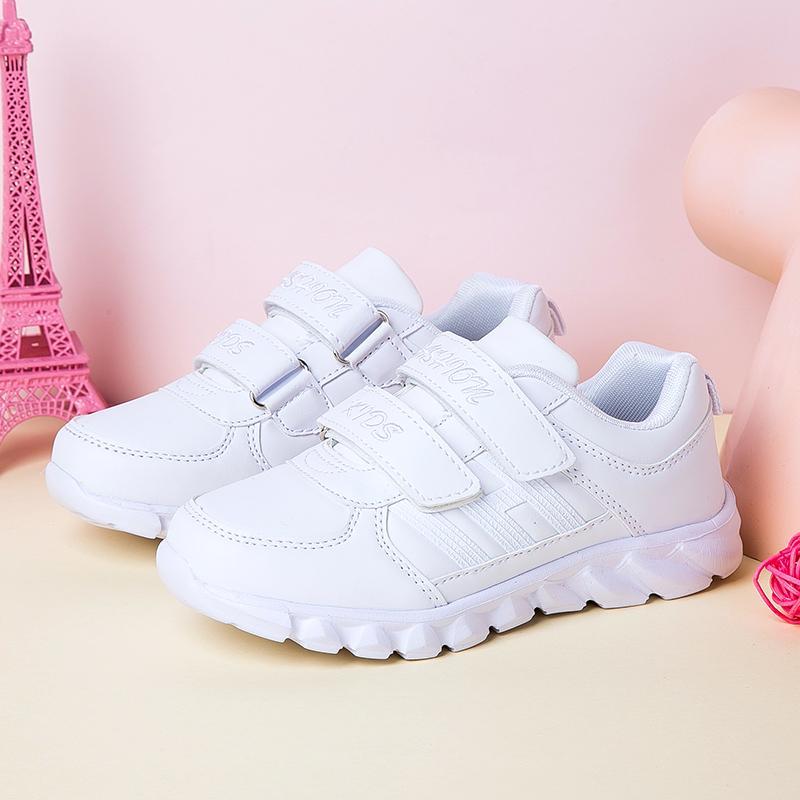 ... PINLI Mesh Bernapas Kulit Kecil Sepatu Putih Nyaman Lembut Olahraga  Sepatu Lari - 4 ... 2c5050792a