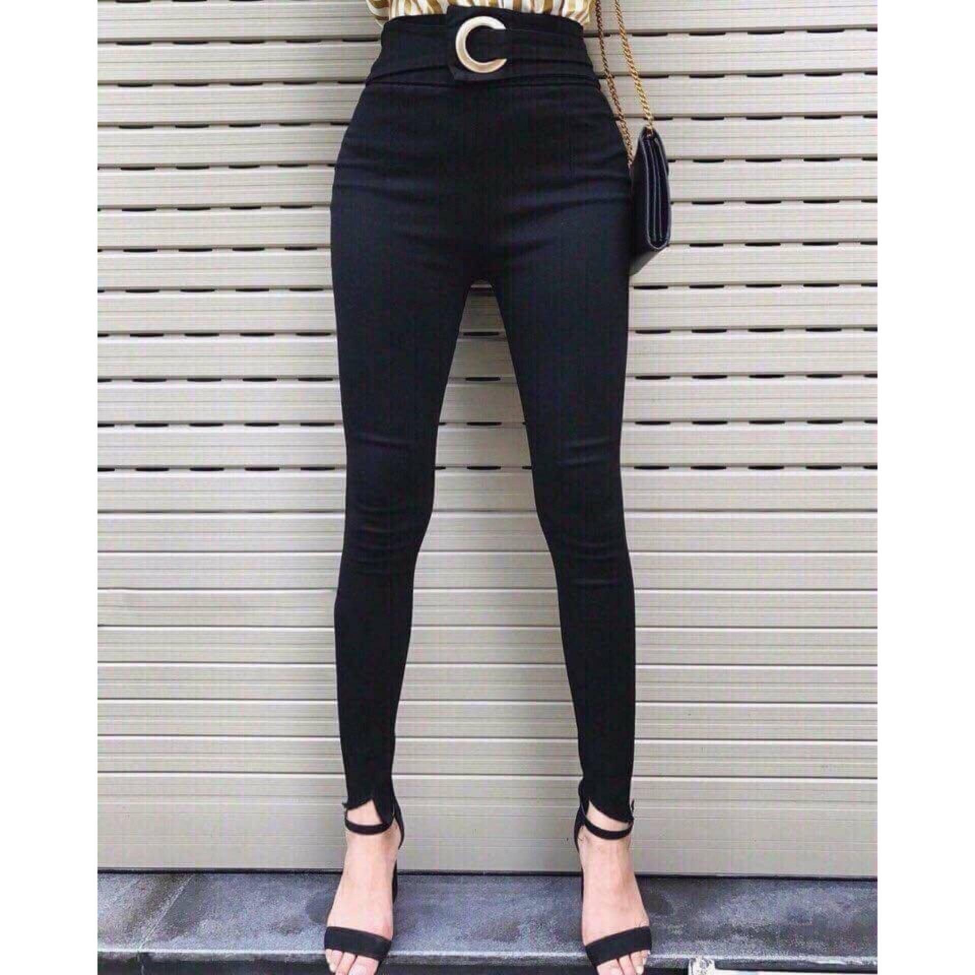 Quần kaki lưng cao gắn khoen hàng thiết kế cao cấp