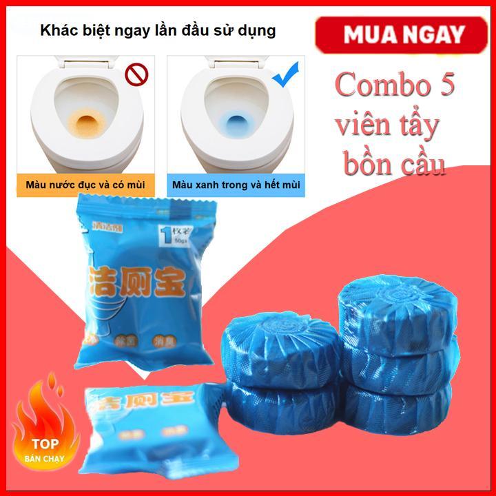 Combo 5 Viên Tẩy Bồn Cầu Khử Mùi - Chất Tẩy Rửa Vệ Sinh Nhà Tắm By Sun Plaza.