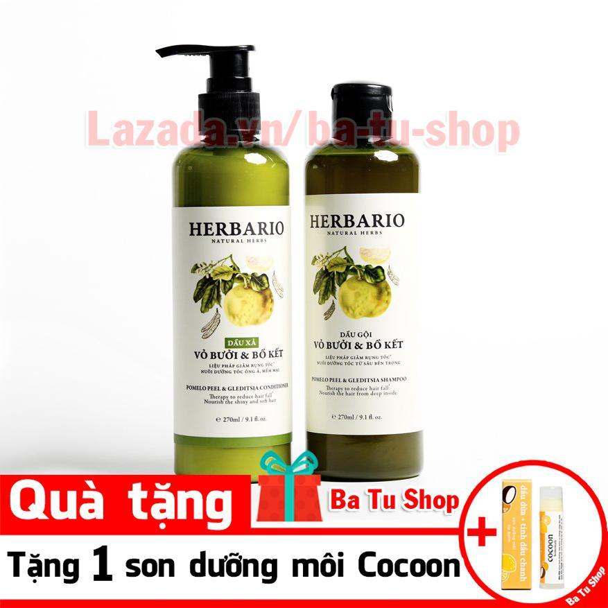 Hình ảnh Bộ đôi Dầu Gội và Dầu Xả HERBARIO tặng 1 son dưỡng môi Cocoon 270ml x 2