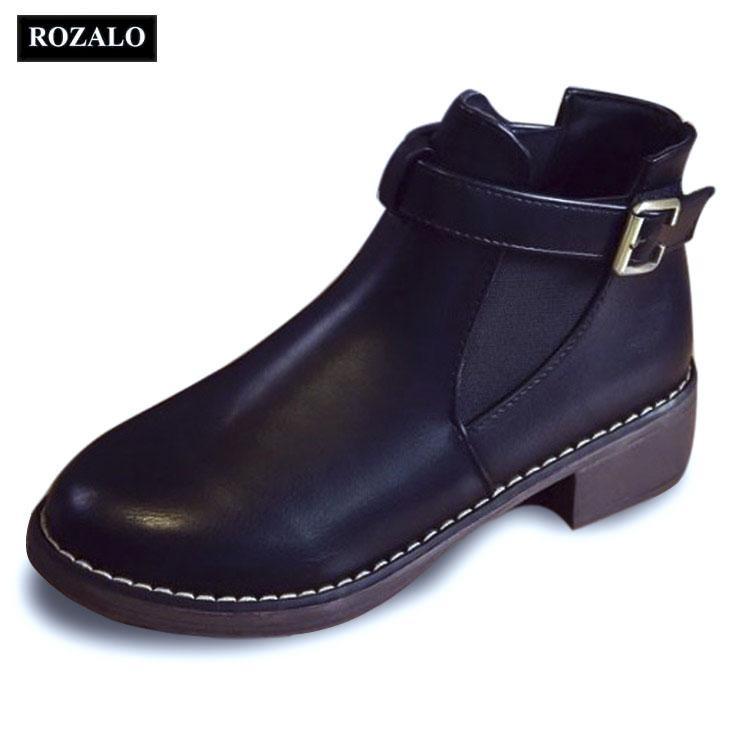 Chiết Khấu Sản Phẩm Giay Chelsea Boots Nữ Co Đai Rozalo Rw3758B Đen
