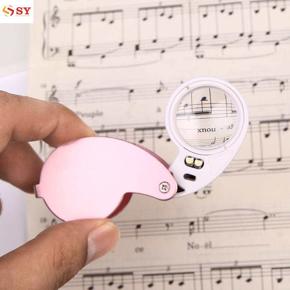So Young LED 40x Magnifier Loupe High Magnification Jewelry Accessory 25MM Pink/Black - intl