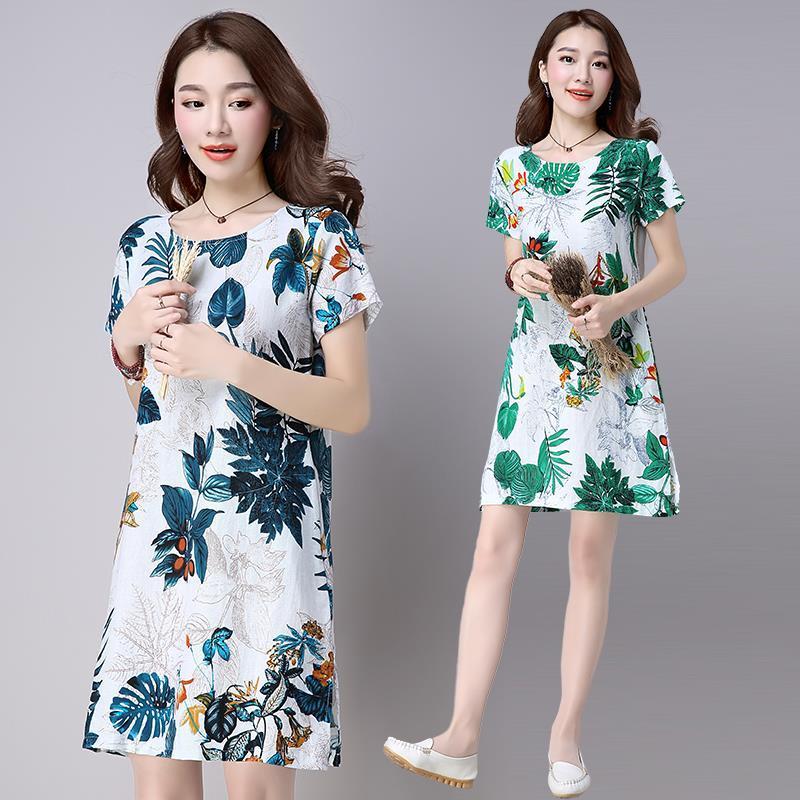 Padat pakaian musim panas model baru kain linen MIMZF gaun lengan pendek longgar model setengah panjang