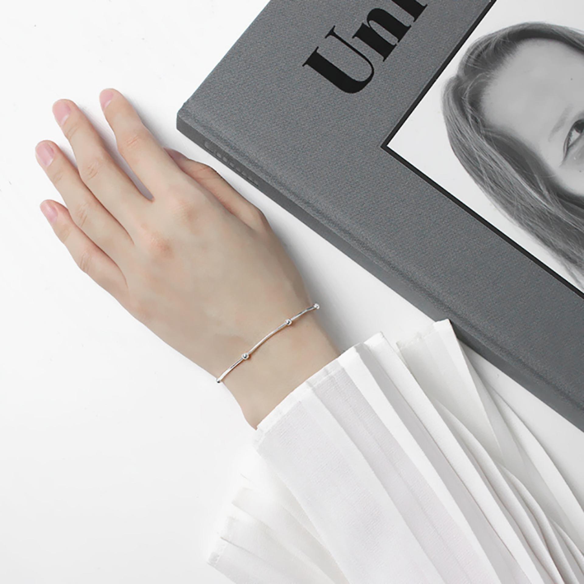 Lắc Tay Nữ Bạc Thật 925 Mạ Bạch Kim Jk Silver Kiểu Dang Trendy Trẻ Trung Jk Silver Chiết Khấu 30