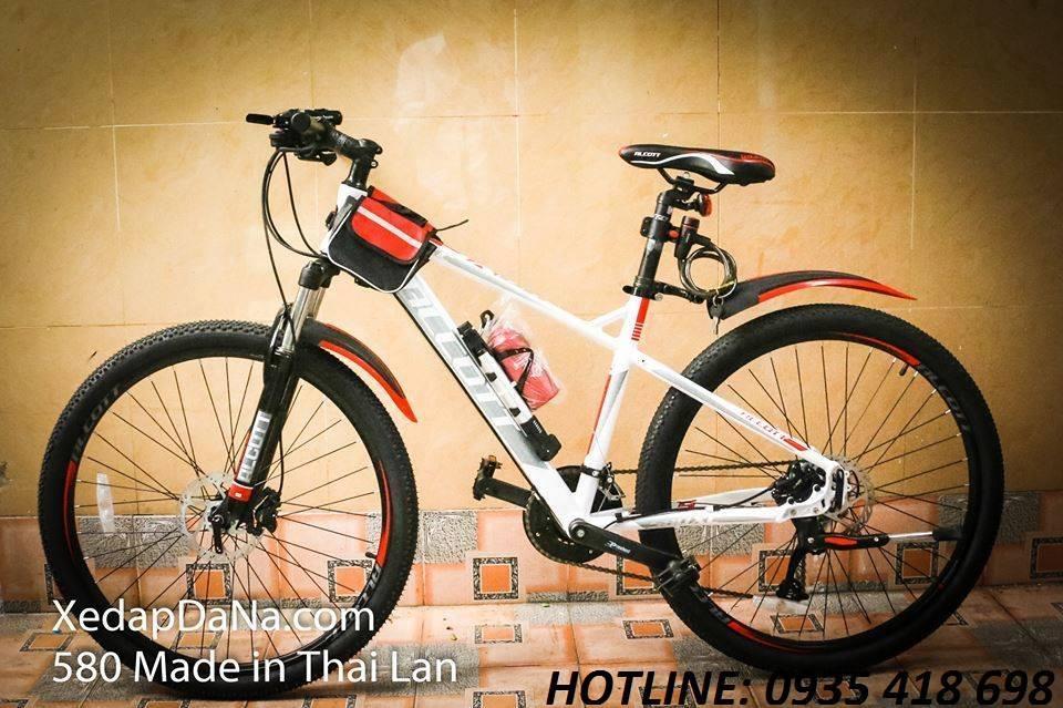 Xe đạp thể thao ALCOTT 580XC màu trắng đỏ
