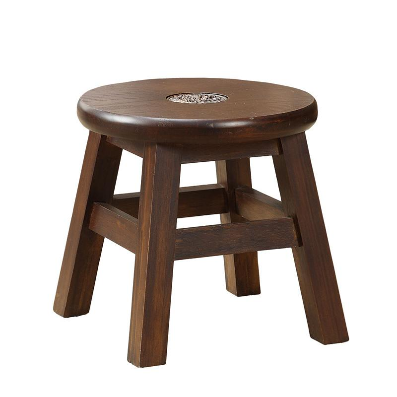American Village Creative Stool Solid Wood can deng Round Stool Fabric Stool Fashion hua zhuang deng Bench Household Stool