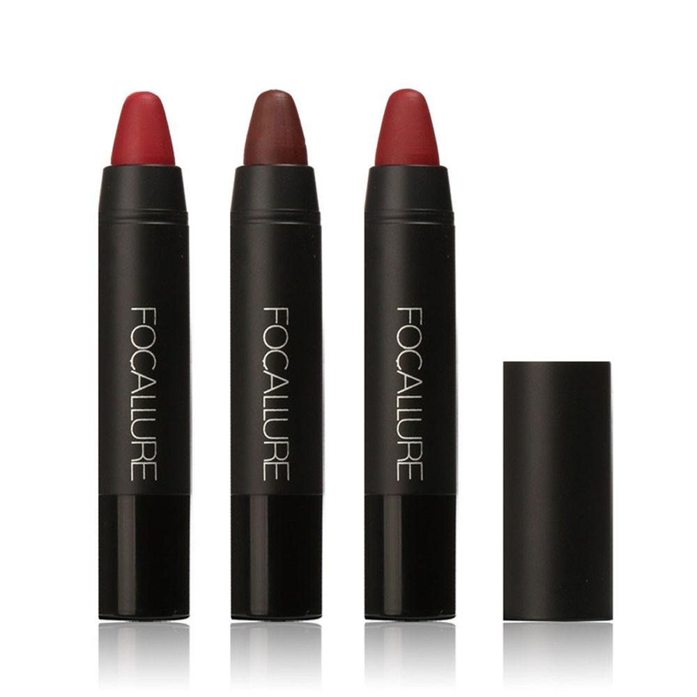 Docesty Focallure Tahan Lama Merah Beludru Matte Pensil Warna Lipstik Krayon Makeup Set