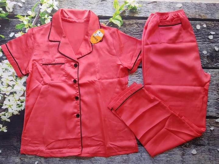 Pijama Dai Tay Ngắn Satin Lụa Cao Cấp Size 55 65Kg Co Clip Rẻ