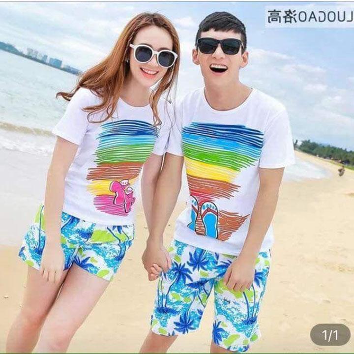 Hình ảnh Quần áo đôi đi biển COMBO 2 quần và 2 áo Đi Biển dành cho Cặp Đôi và Gia Đình
