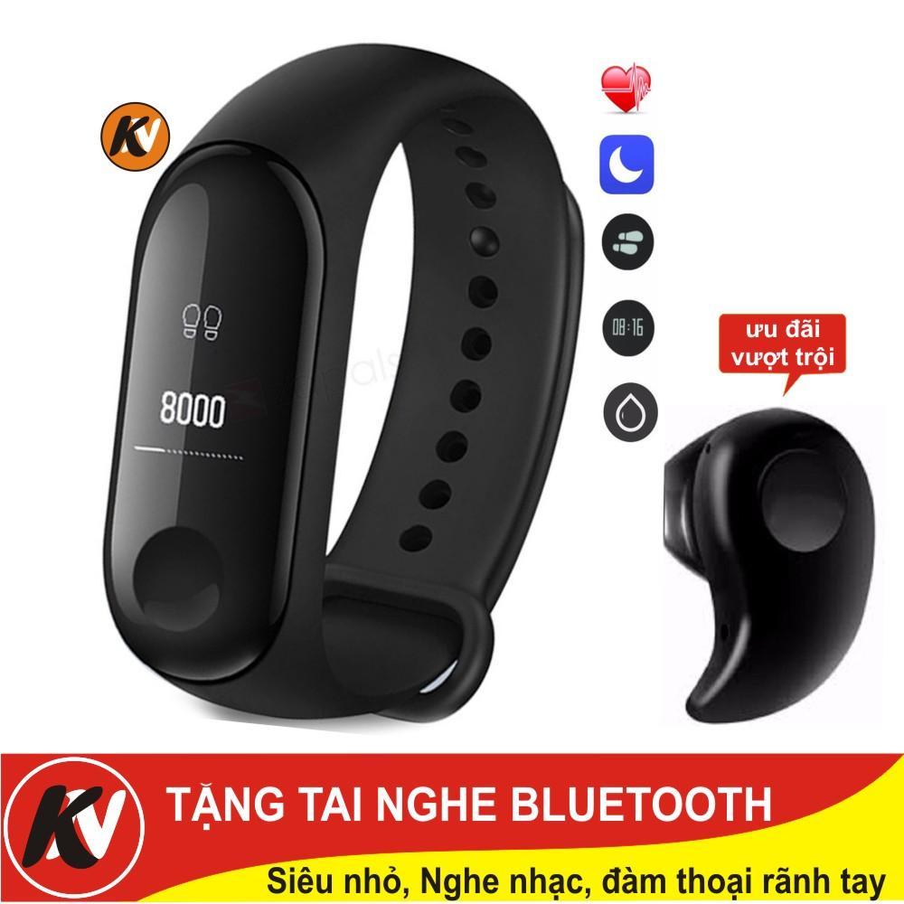 Hình ảnh Vòng đeo tay thông minh Mi Band 3, Miband3, Mi band3 Kim Nhung (Đen) + Tai nghe Bluetooth siêu nhỏ