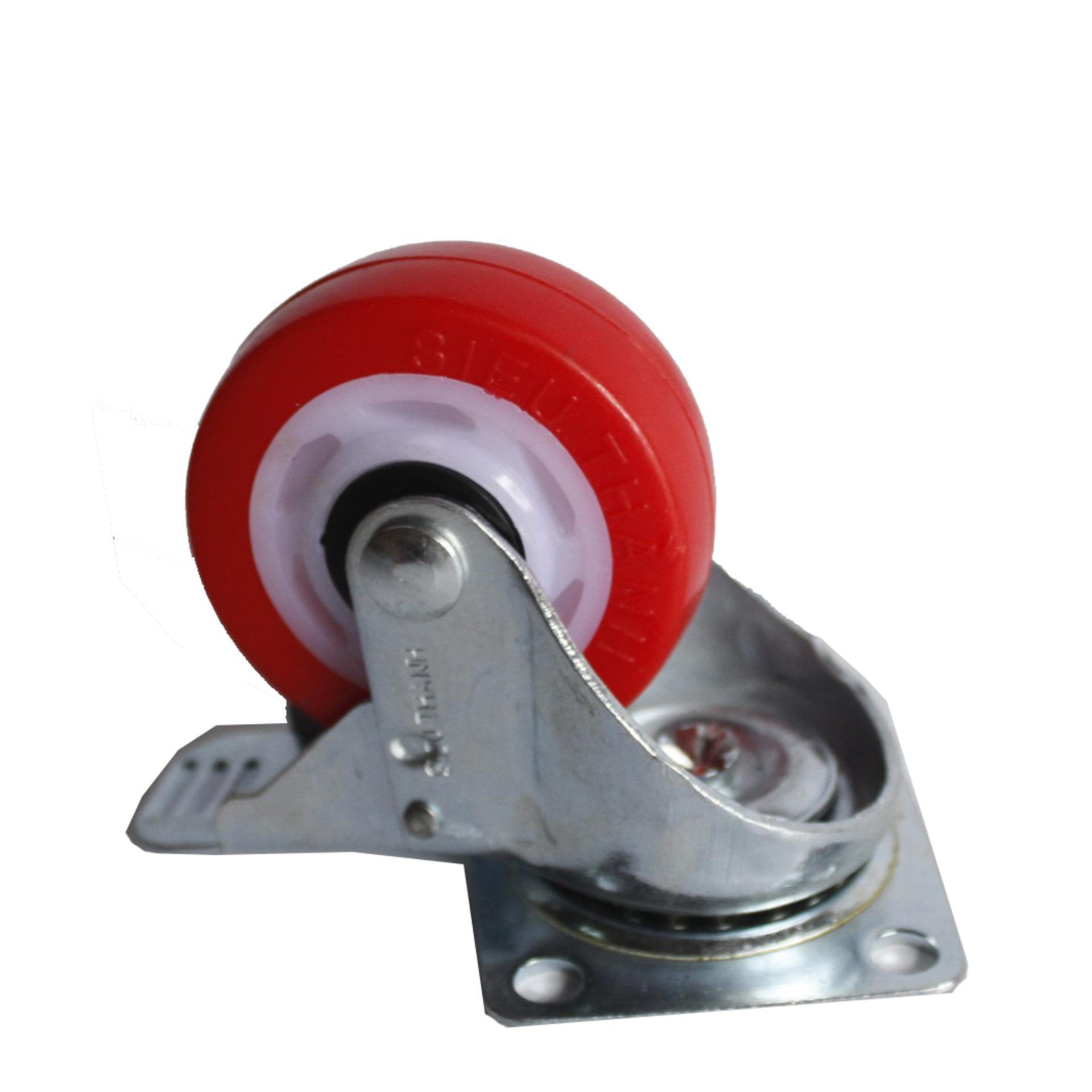 Bánh xe siêu thanh Đỏ 65mm 2 vòng bi có khóa phanh ( Bộ 4 bánh xe )