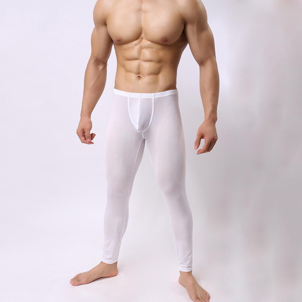 c1849d6e0386f Lucky-G Men Homewear Sexy Bulge Pouch Long Johns Pants Basic Casual Slim  Fit Pants