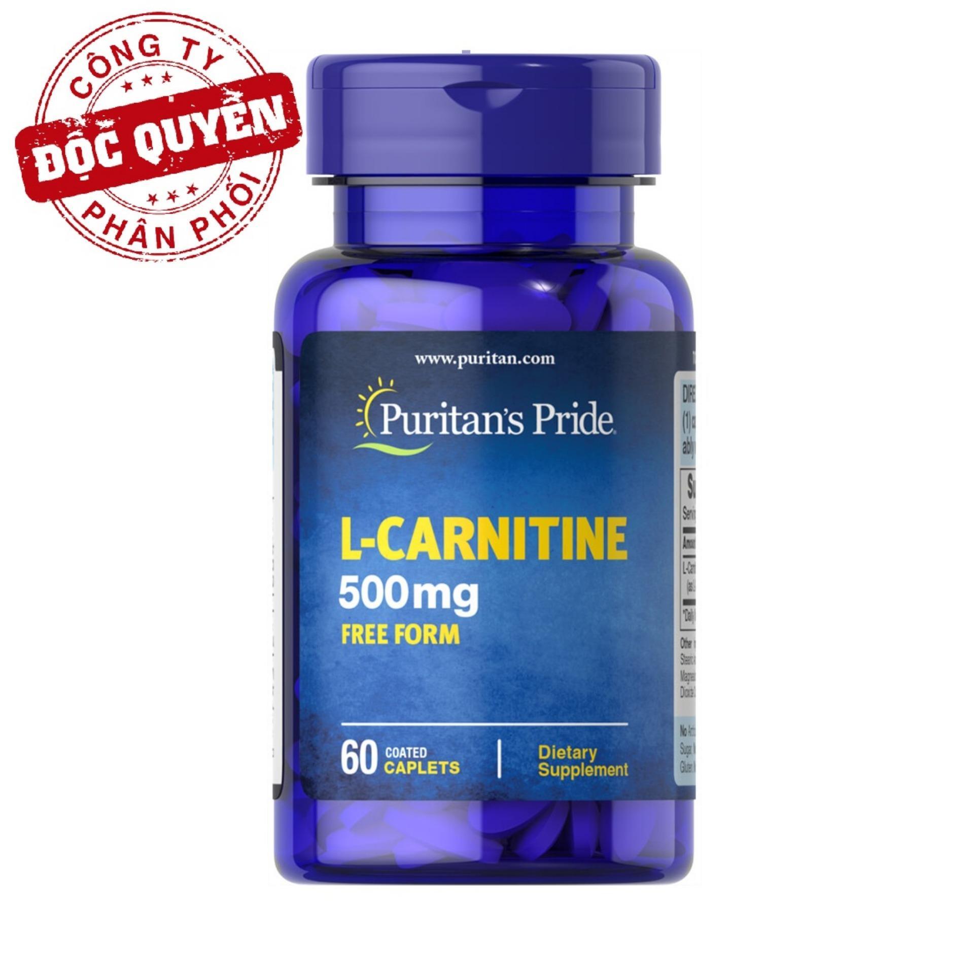 Hình ảnh Viên uống hỗ trợ giảm cân không tác dụng phụ, giúp cơ thể săn gọn, hỗ trợ chức năng thận Puritan's Pride L-Carnitine 500mg 60 viên HSD tháng 9/2018