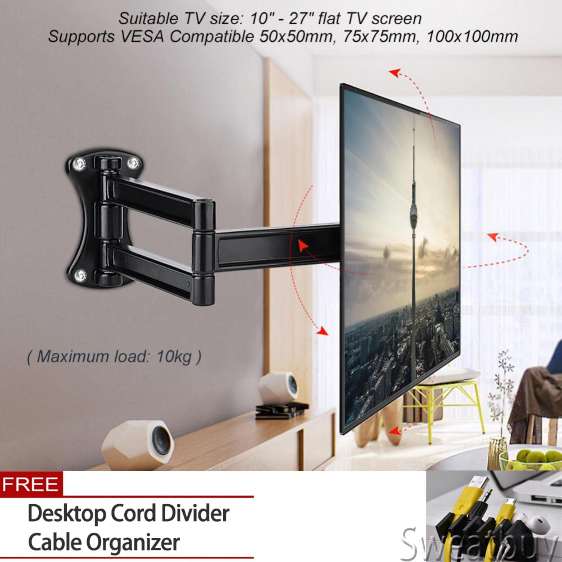 Hình ảnh 【Buy 1 Get 1 Free Gift】Tv Mount Wall Bracket Tilting Swivel Mount Stand Holder for 10-27 Inch Flat TV LED LCD Screen - intl