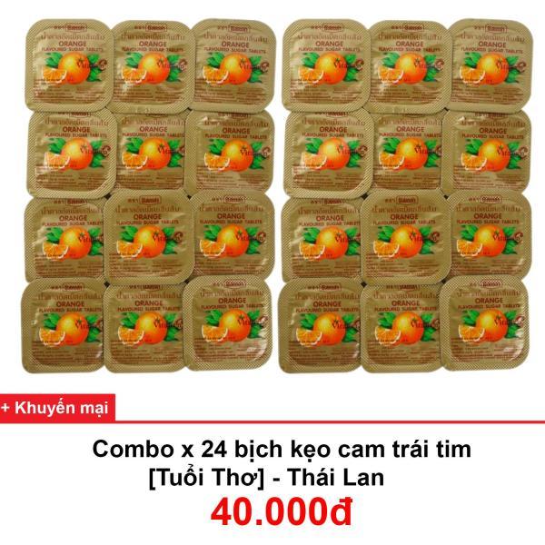 Kẹo cam trái tim tuổi thơ - Thái Lan (Combo 24 hộp)