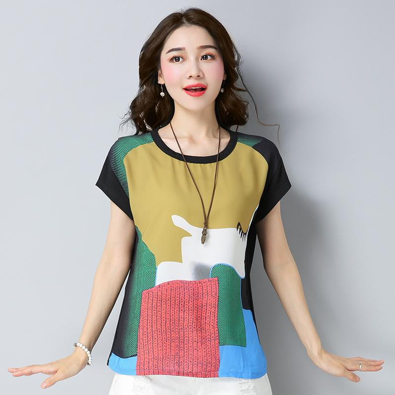 Large Size Joint Beauty Map Printed T-shirt 2018 Summer Wear for Women Fat Mm