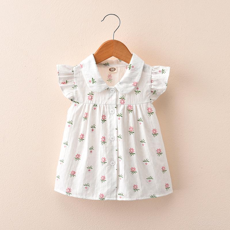 a8899fbdea36c Girls' Summer Clothing 2019 New Style Children Summer Women's Shirt Floral  Print Short Sleeve free xiu Tops Children Summer Cardigan