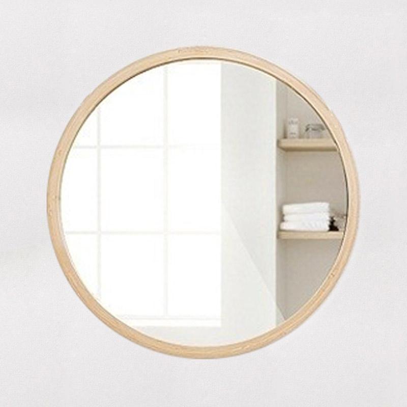 Gương tròn treo tường viền gỗ cho phòng ngủ, nhà tắm GS1005