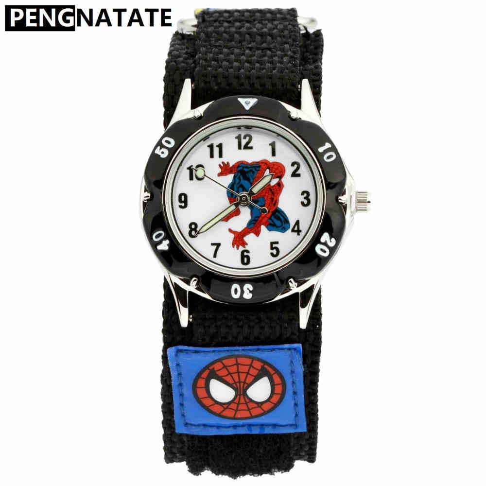 PENGNATATE Anak-anak Jam Tangan Anak Laki-laki Spiderman Tangan Perhiasan Hadiah Mode Bercahaya
