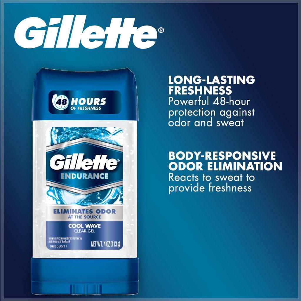 Hình ảnh [Hàng Mỹ] Lăn khử mùi nam Gillette Endurance Clear Gel Cool Wave 107g