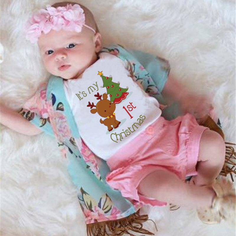 0466faed9f8 LQ Christmas Baby Romper Cute Deer Print Short Sleeve Newborn Jumpsuit Girls  Boys Costume