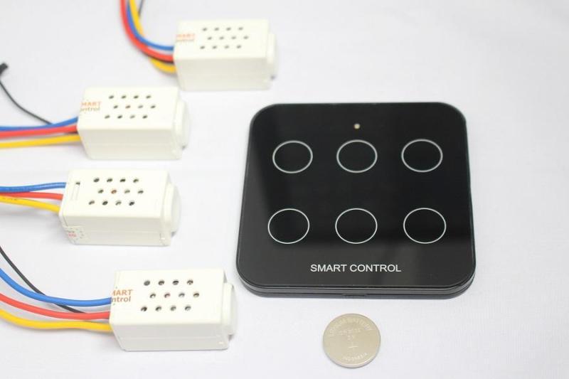 Combo Remote mặt kính cường lực và 04 Công tắc điều khiển từ xa S168