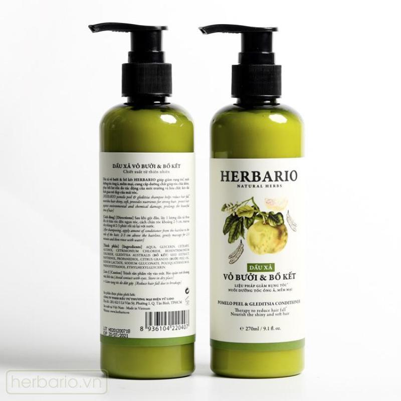 Combo 2 chai Dầu xả Vỏ bưởi và Bồ kết Herbario 270ml giúp ngăn rụng tóc nhập khẩu