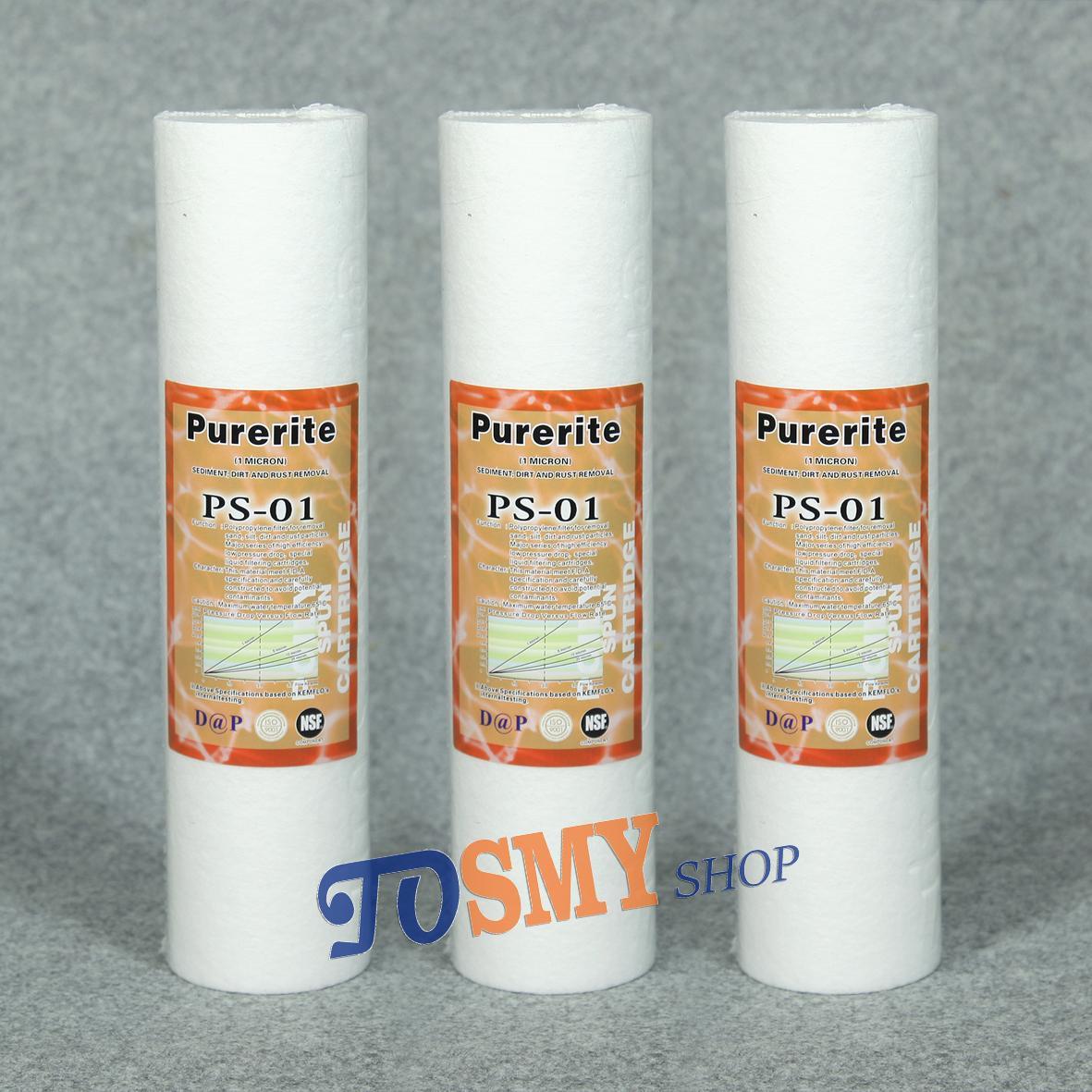 Bộ 3 lõi lọc nước PP 1 micron dùng cho máy lọc nước RO hoặc lọc thô 10 inch