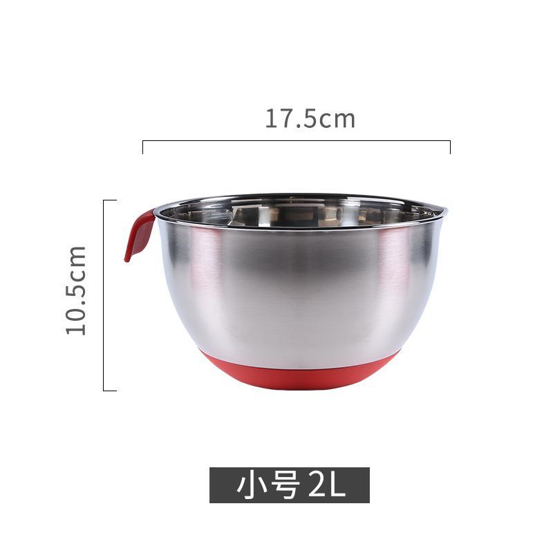 ชามสแตนเลสพร้อมฝามีขีดระดับลึกมากขึ้นเพิ่มความหนาและอ่างล้างหน้ากันลื่นชามผสมชามซุปเครื่องมืออบขนม By Taobao Collection.