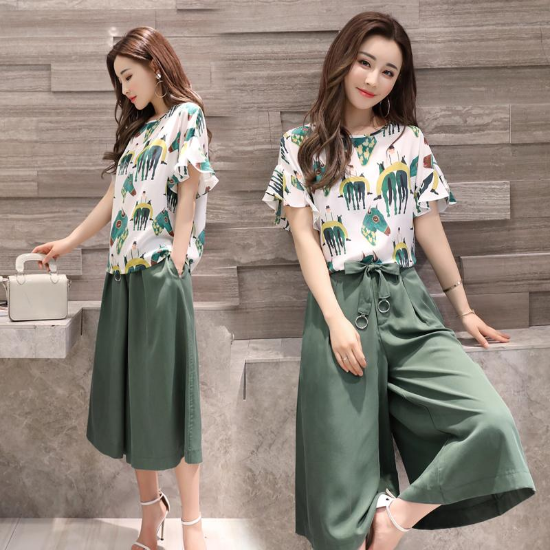 0873f2490365 Large Size Dress Wide Leg Pants Set 2018 New Style Korean Style Summer Short -sleeved