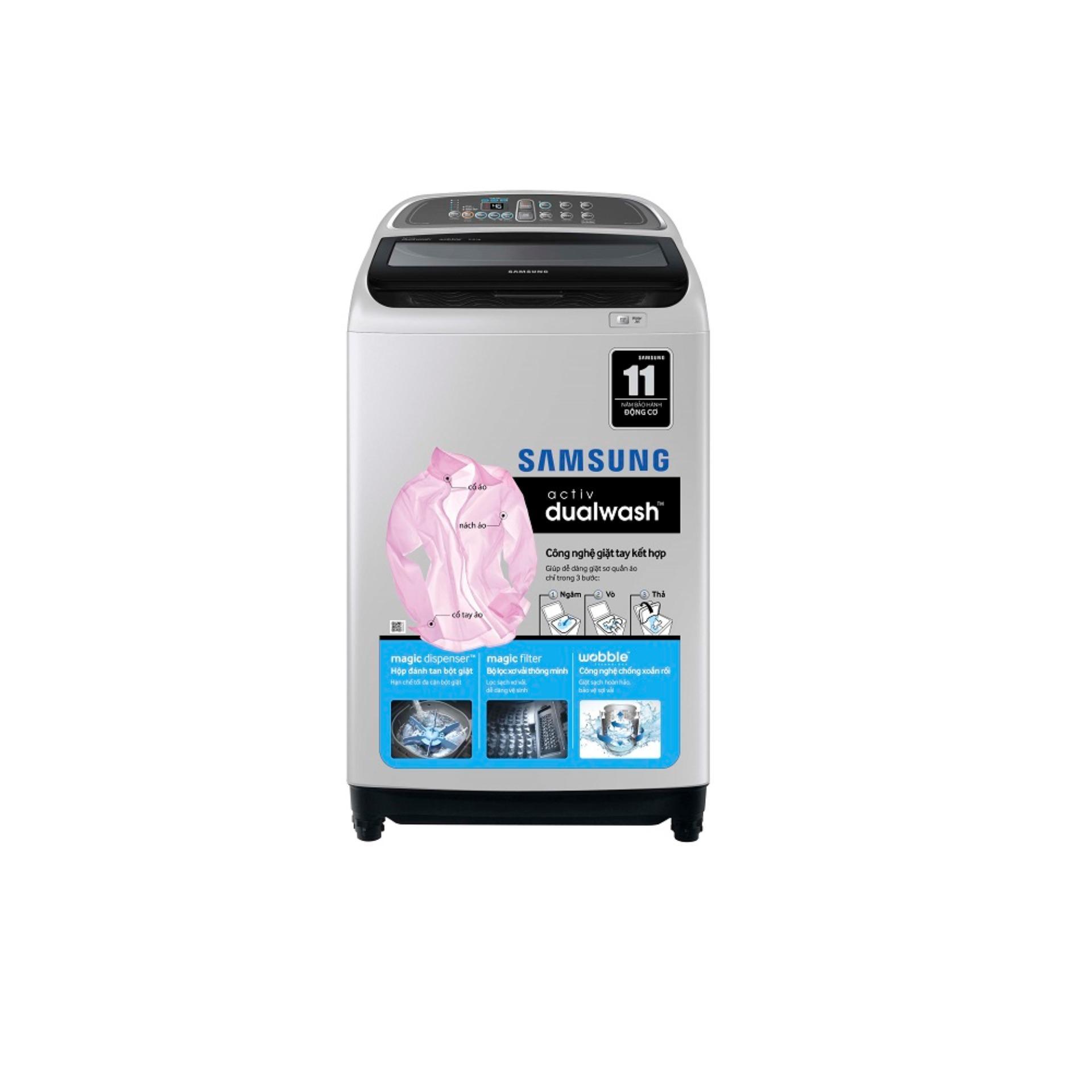 Hình ảnh Máy giặt cửa trên Samsung WA90J5710SG/SV 9Kg (Xám, đen)