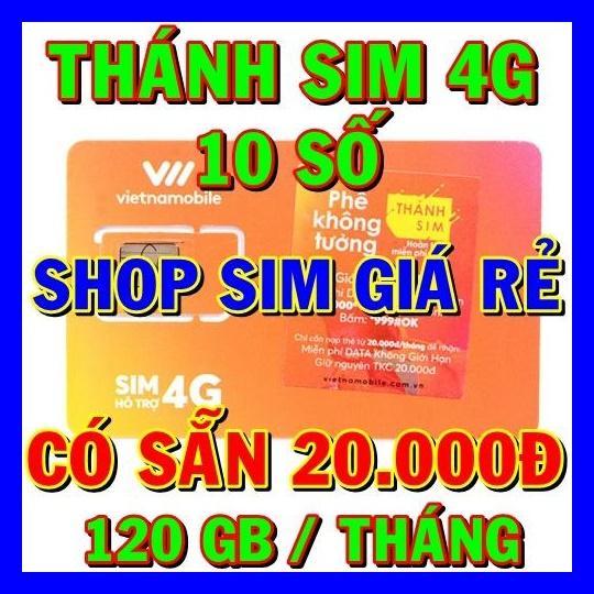 Hình ảnh Thánh sim 4G Vietnamobile 10 số FREE 120Gb/tháng - Shop Sim Giá Rẻ - thanh sim gia sỉ