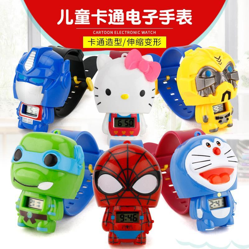 Childrens cartoon electronic watch toy Avengers Spiderman Captain America Mickey anime deformation watch Malaysia