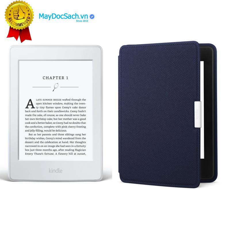 Máy Đọc Sách All-New Kindle PaperWhite (2018) và Bao da Inox (Màu Xanh đậm)
