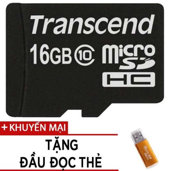 Thẻ nhớ MicroSDHC Transcend Premium 200x 16GB class 10  tặng đầu đọc thẻ
