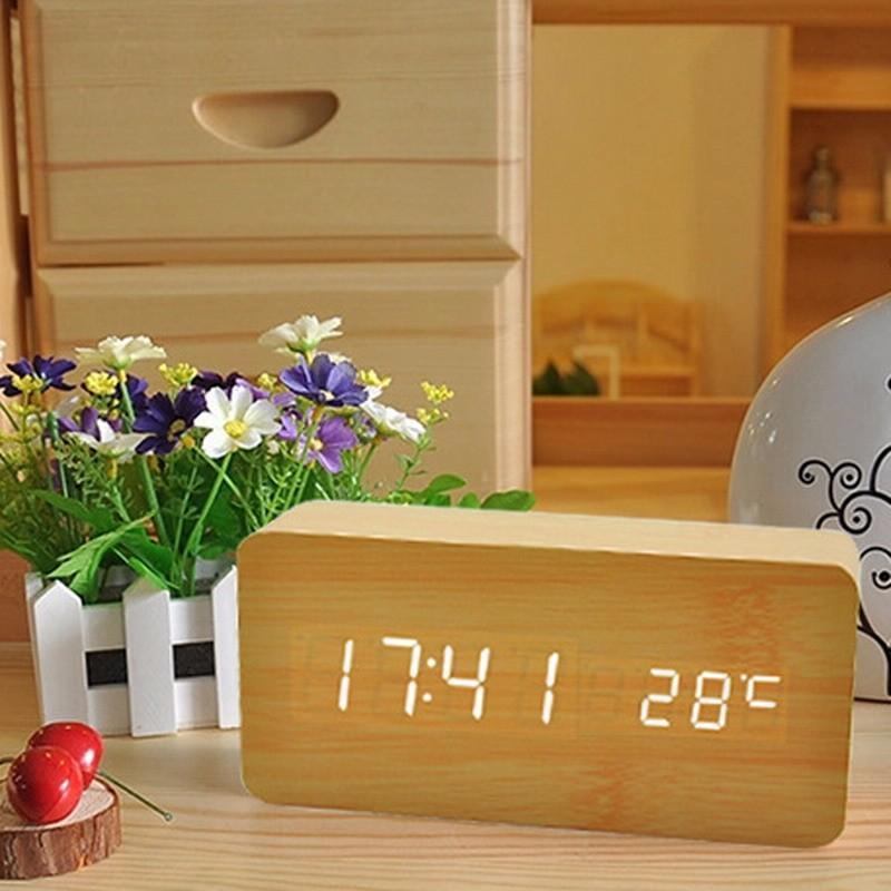 Đồng Hồ Gỗ Báo Thức Hình Chữ Nhật Wood LED Digital thông minh bán chạy