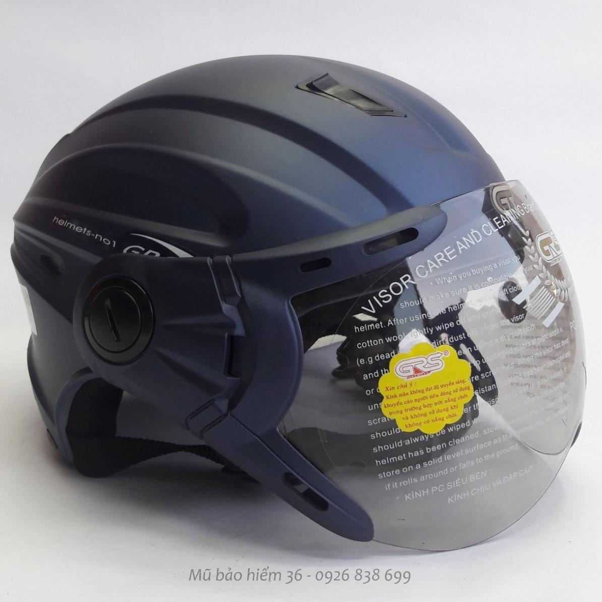 Mã Khuyến Mại Mũ Bảo Hiểm Nửa Đầu Co Kinh Grs A737K Mau Xanh Tim Than Nham
