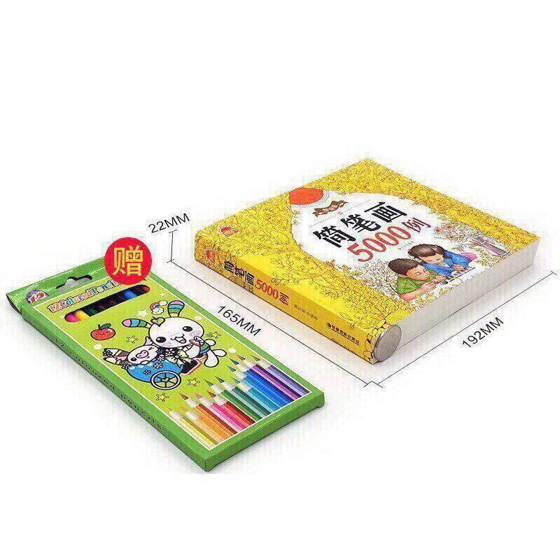 Hình ảnh Sách Tập Tô Và Dạy Vẽ 5000 Hình Tặng Kèm Hộp Bút Chì 12 Màu Cho Bé