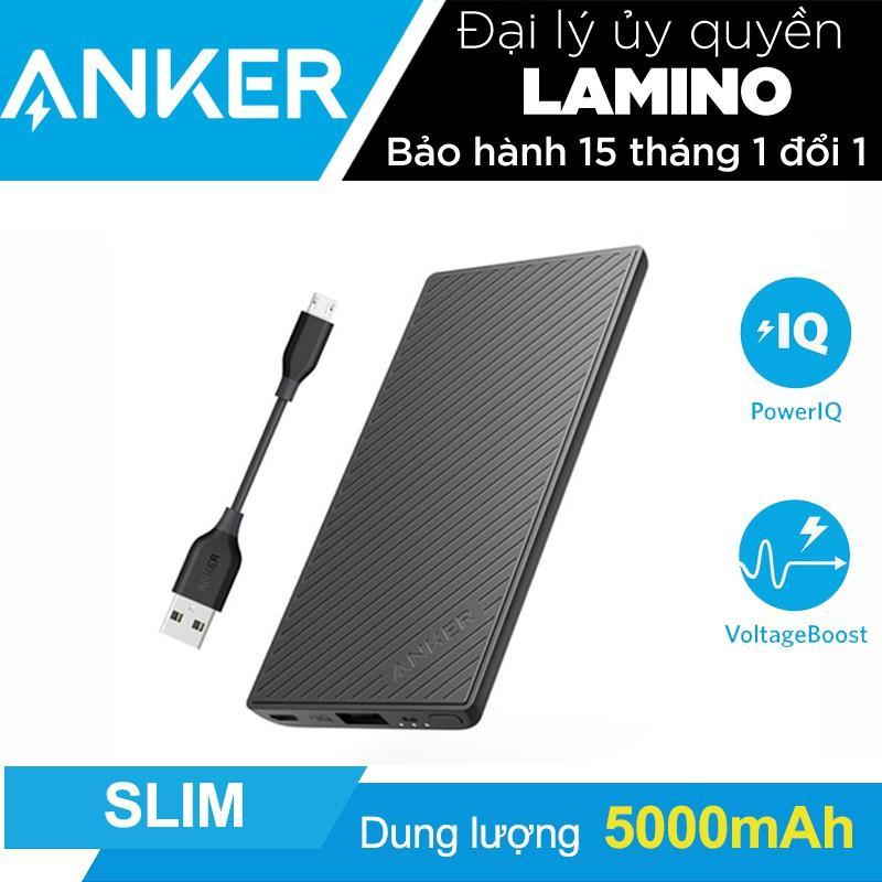 Pin sạc dự phòng siêu mỏng ANKER PowerCore Slim 5000mAh kèm cáp Micro USB dài 10cm